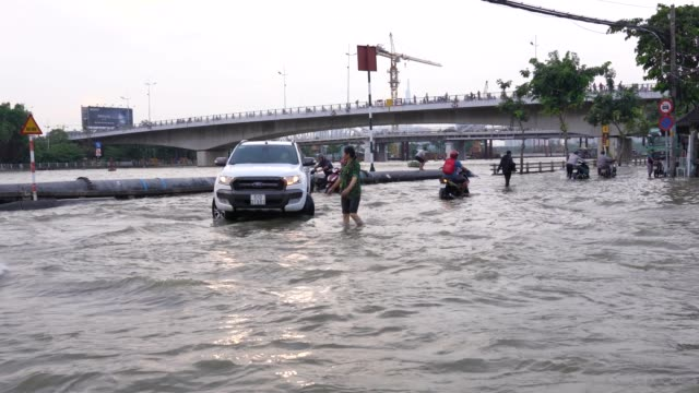 high tide in ho chi minh city. - flood stock videos & royalty-free footage