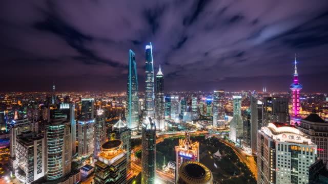 high up view of shanghai urban cityscape nightscape transition - 東方明珠塔点の映像素材/bロール