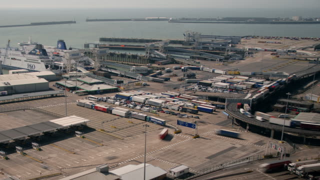 High vantage point looking across the Dover Ferry Terminal and English Channel