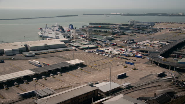 high vantage point looking across the dover ferry terminal and english channel - ferry terminal stock videos & royalty-free footage