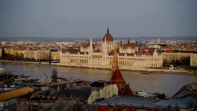 high view of amazing city-budapest - gothic style stock videos & royalty-free footage