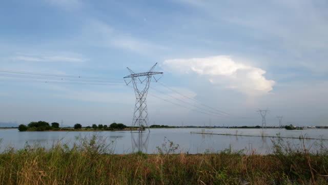 湿地で高電圧極。 - power line点の映像素材/bロール