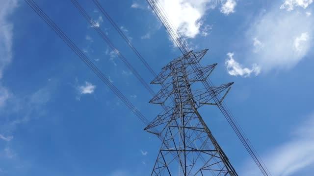 High voltage pole on blue sky