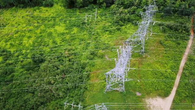 high voltage power line - cable stock videos & royalty-free footage