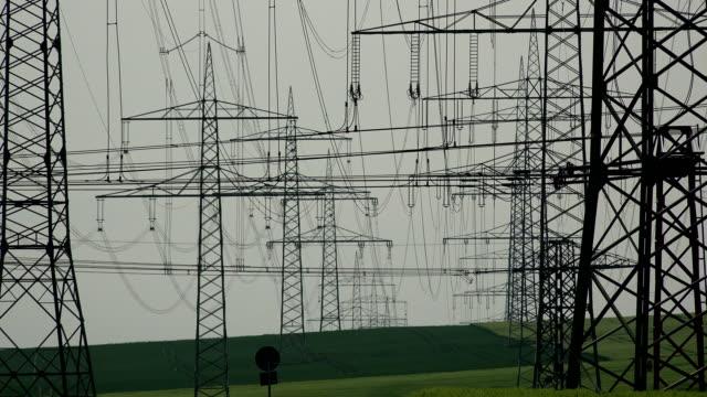 High voltage power lines, Neurath, North Rhine Westphalia, Germany