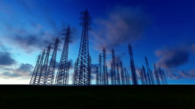 High Voltage Substation at night