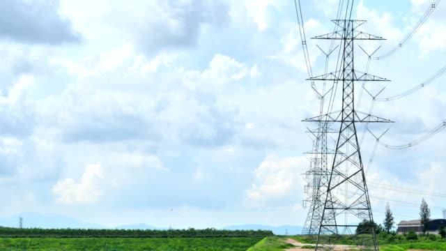 vídeos de stock, filmes e b-roll de torre de alta tensão com céu azul e nuvens - alta voltagem