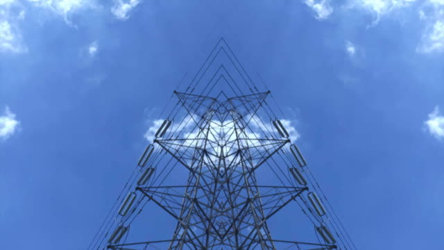 High voltage tower with sky background