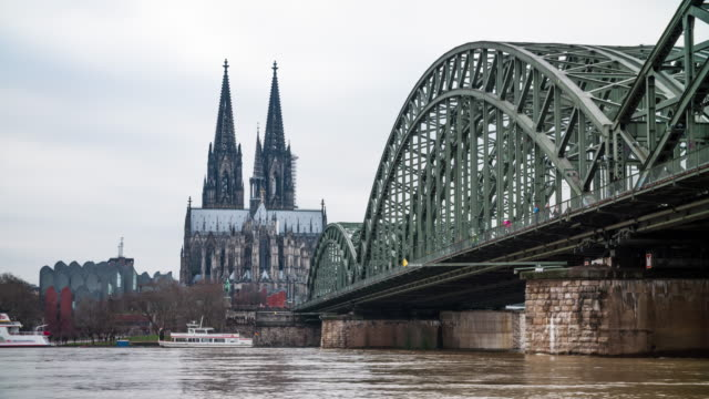 high water in cologne - river rhine stock videos & royalty-free footage