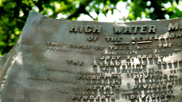 hohe water mark der rebellion monument-pan - gettysburg stock-videos und b-roll-filmmaterial