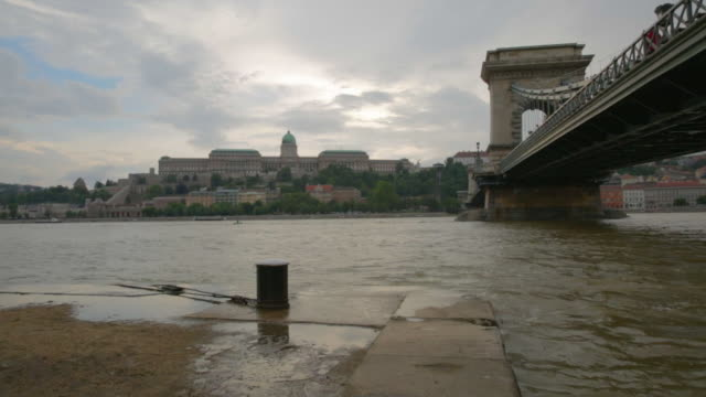 high waters in the danube - royal palace of buda stock videos & royalty-free footage