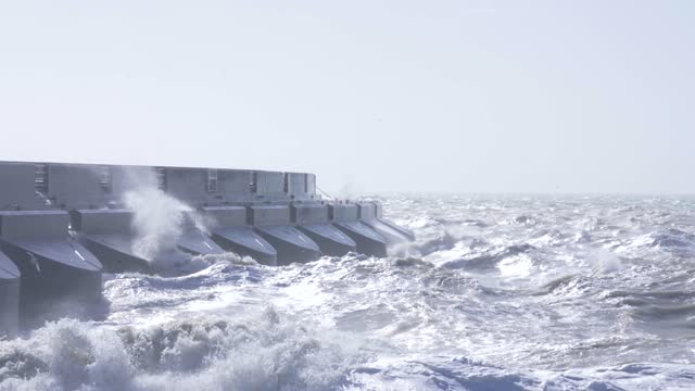high winds hit the south of england, as storm force winds hit parts of the uk, brings large waves and choppy seas on march 11, 2021 in brighton, uk. - rough stock videos & royalty-free footage