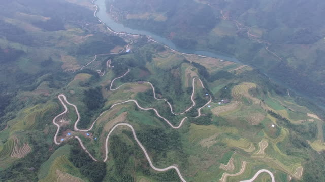 High altitude aerial Reisfeld, Longsheng.Guilin, China