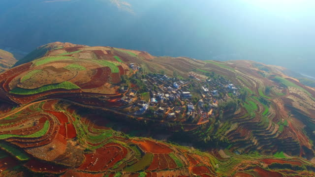 high-altitude aerial rice paddy,yunnan,china - yunnan province stock videos and b-roll footage