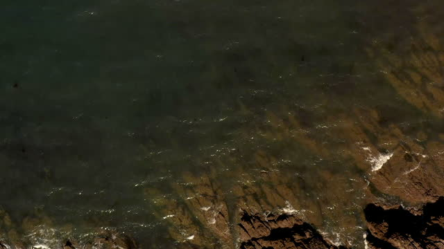 vidéos et rushes de high-angle aerial video looking directly down at the rocky coastline in saint-gildas-de-rhuys, brittany, france, at daytime - littoral