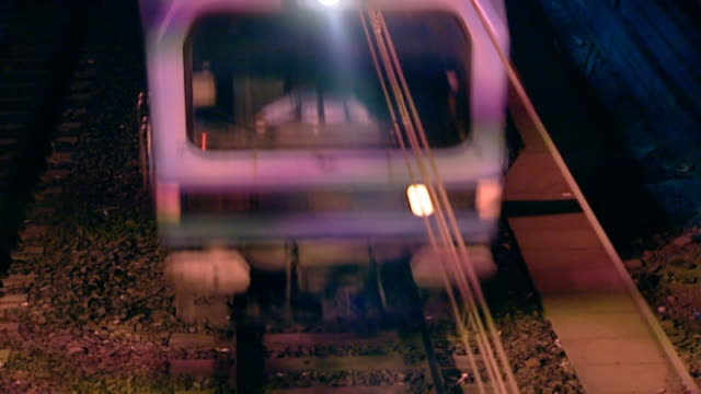 high-angle night view of a moving train. - egypt stock videos & royalty-free footage