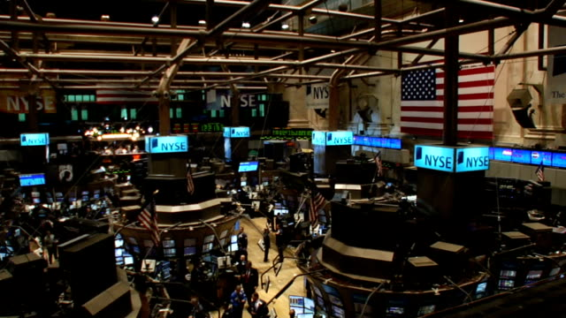 highangle pan l to r over trading floor of new york stock exchange new york city - 2008 stock videos & royalty-free footage