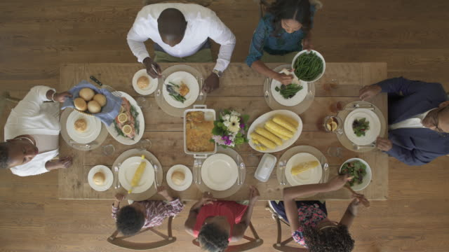 High-angle shot of a family meal