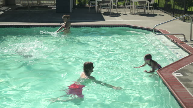 High-angle shot of a family playing in a pool