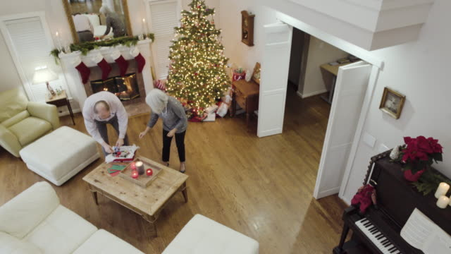 stockvideo's en b-roll-footage met high-angle shot of a senior couple decorating a christmas tree - tuindeur