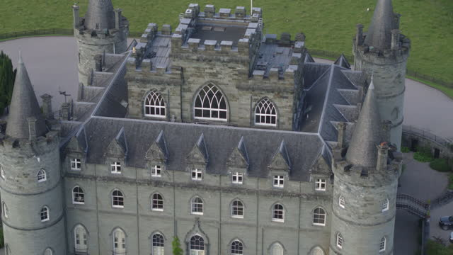 high-angle shot of inveraray castle - pull out camera movement stock videos & royalty-free footage