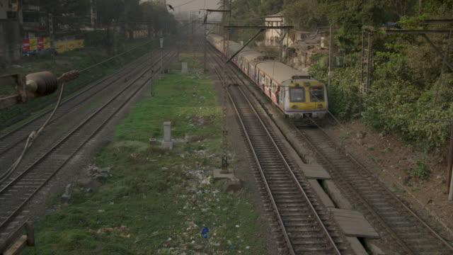 High-angle view of an approaching train, Mumbai, Maharashtra, India.