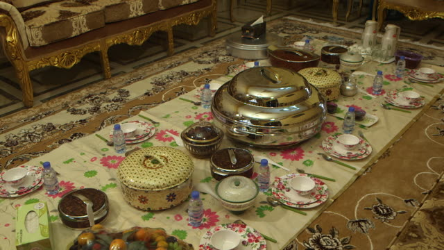 highangle view of crockery and food set on the floor - dining room stock videos & royalty-free footage