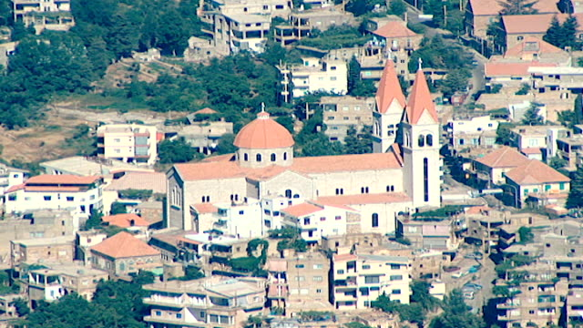 highangle view of saint saba cathedral in the town of bsharri in northern mount lebanon - viewpoint stock videos & royalty-free footage