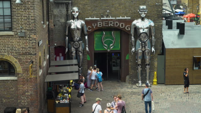 High-angle view of the entrance to Cyberdog, Camden Market