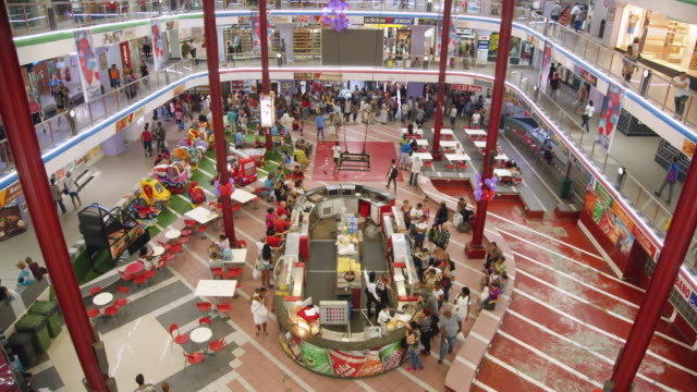 high-angle view of the ground floor of a shopping mall in havana, cuba - wide stock videos & royalty-free footage