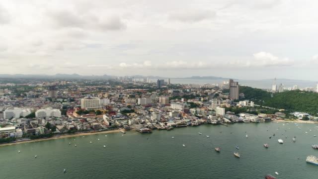 High-angle view of the Pattaya city