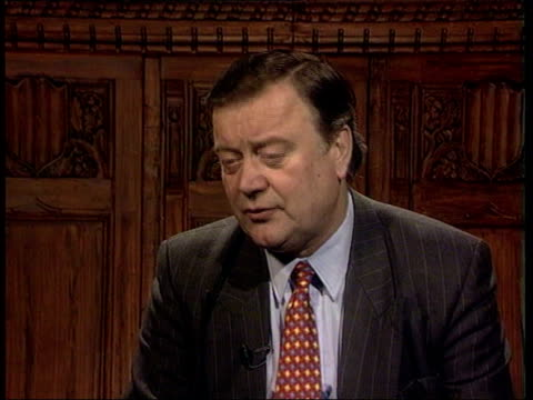 higher taxes kenneth clarke mp interviewed sot he won't find a method which is not hugley unfair its gesture politics bsp040399030 - 政治家 ケネス・クラーク点の映像素材/bロール