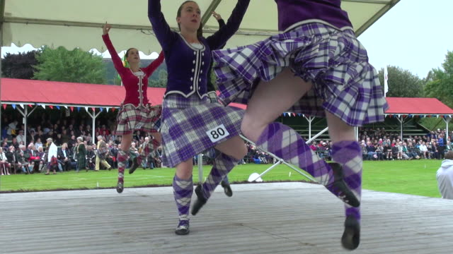 ms highland dancer performing at braemar royal highland games / braemar, aberdeenshire, scotland - highland games stock videos & royalty-free footage