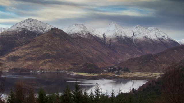 highland village at the foot of mountains - time lapse - loch duich stock videos & royalty-free footage