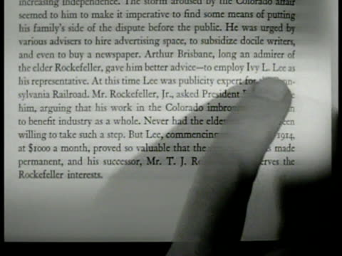 highlighted book page w/ male index finger pointing to publicity expert ''ivy lee'' name on page. - index finger stock videos & royalty-free footage