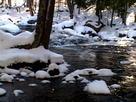 vidéos et rushes de highlighted water in snowy stream - bercement
