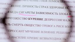 Highlighting the word smoking cigarettes in Russian with a pink marker, view through a magnifying glass. Bad habits of a person, for social advertising video