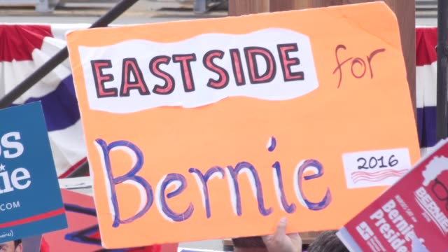Highlights from Bernie Sanders' speech in East Los Angeles and interviews with millennialage supporters Rosario Dawson speaks and says to vote purple...