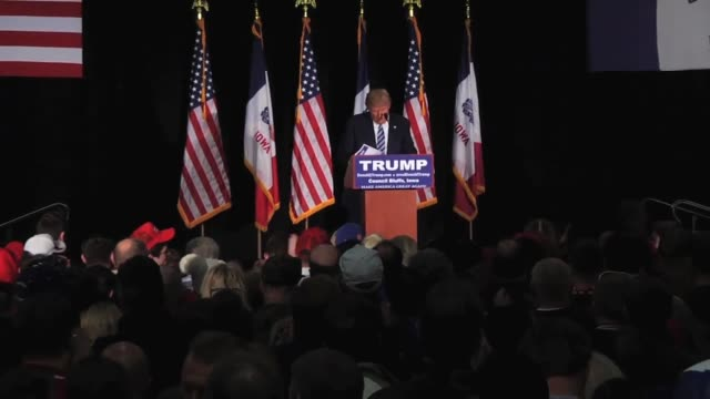 highlights from donald trump's hour-long speech yesterday in council bluffs, iowa. trump discussed immigration, christians, muslims, and... - 2015 stock videos & royalty-free footage