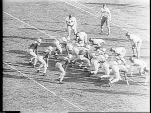 vídeos de stock e filmes b-roll de highlights of football game notre dame vs iowa / touchdown for iowa for the lead / in third quarter notre dame ties game 77 / stadium crowd cheers /... - terceiro quarto de tempo