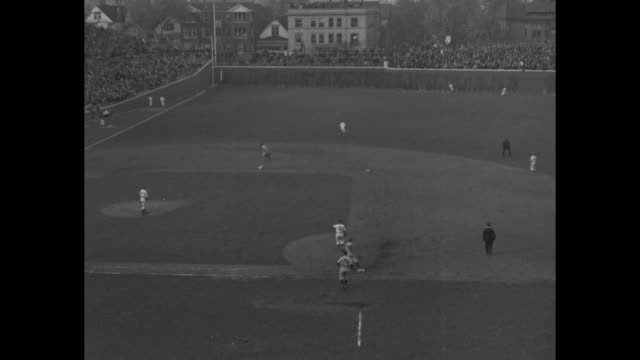 Highlights of Game 2 of the 1938 World Series New York Yankees v Chicago Cubs at Chicago's Wrigley Field begins / Cubs' Joe Marty at bat / Stan Hack...
