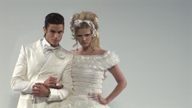 vídeos de stock e filmes b-roll de highlights on chanel at the paris fashion week haute couture fall/winter 2010 - chanel
