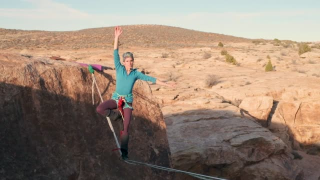 highlining in moab, utah - moab utah stock videos and b-roll footage