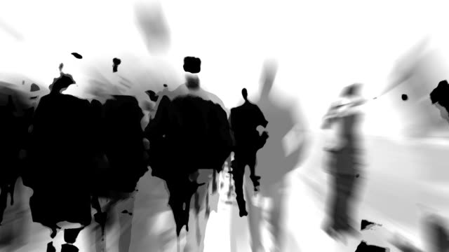 dense crowd walking across a bridge: highly condensed reality (loop) - black and white stock videos & royalty-free footage