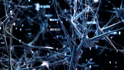 vídeos y material grabado en eventos de stock de altamente detallada de redes neuronales / inteligencia artificial (azul) - loop - equipo informático