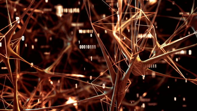 highly detailed neural network / artificial intelligence (orange) - loop - computazione quantistica video stock e b–roll
