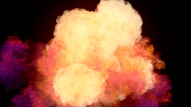 暗い背景とアルファのマットを作成するために混合色の煙の非常に現実的な化学雲。3 d レンダリング。4 k、ウルトラ hd 解像度。 - 爆弾点の映像素材/bロール