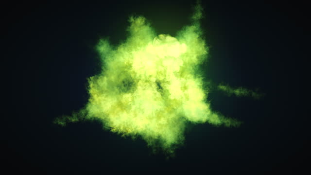 highly realistic chemical cloud of green smoke mixing on dark background and alpha matte to compose. 3d rendering. 4k, ultra hd resolution. - cloud matte stock videos & royalty-free footage