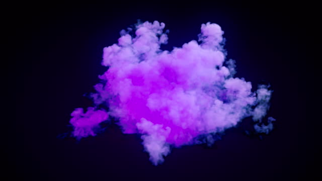 highly realistic fire explosions with chemical cloud of thick violet smoke mixing on dark background and alpha matte to compose. 3d rendering. 4k, ultra hd resolution. - cloud matte stock videos & royalty-free footage