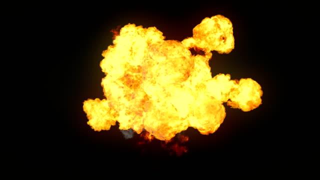 vídeos de stock, filmes e b-roll de explosões de fogo altamente realista com fumo e alfa fosco para compor. renderização 3d. 4k, resolução hd ultra. - ignição
